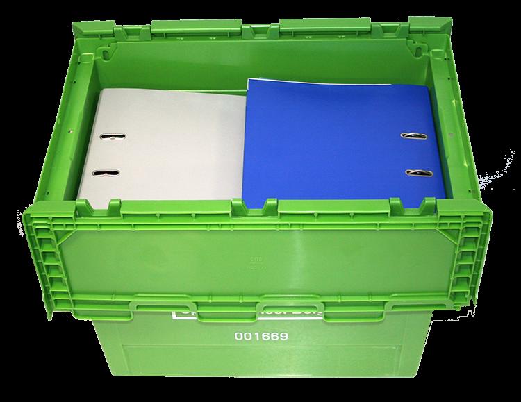 In een GreenBox verhuisdoos passen wel 1à ringmappen met dikke rug. Ideaal voor kantoorverhuis